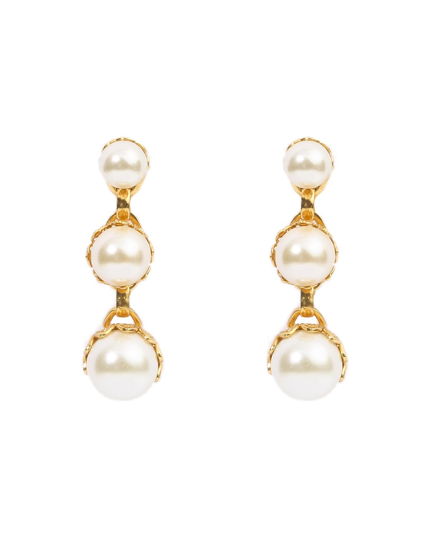 Pearly 3-Drop Earrings