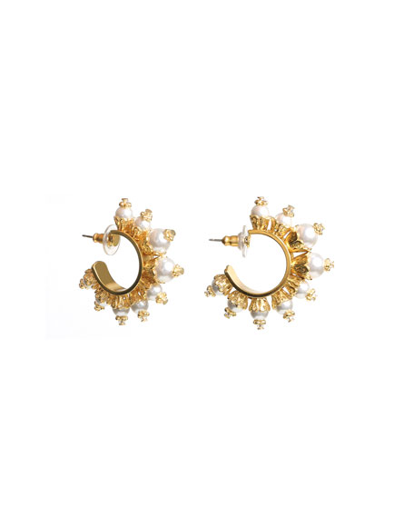 Ben-Amun Pearly Huggie Hoop Earrings