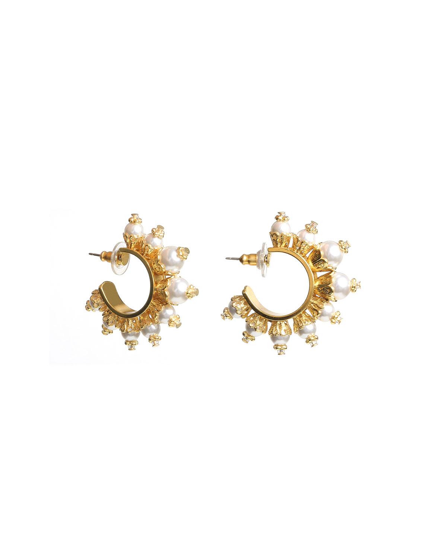 Pearly Huggie Hoop Earrings