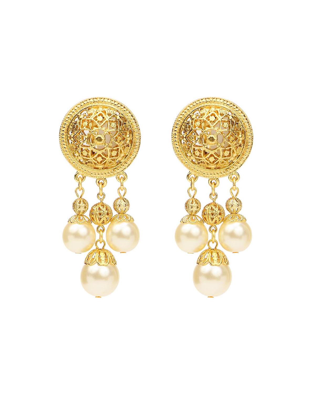 Pearly Dangle Clip Earrings