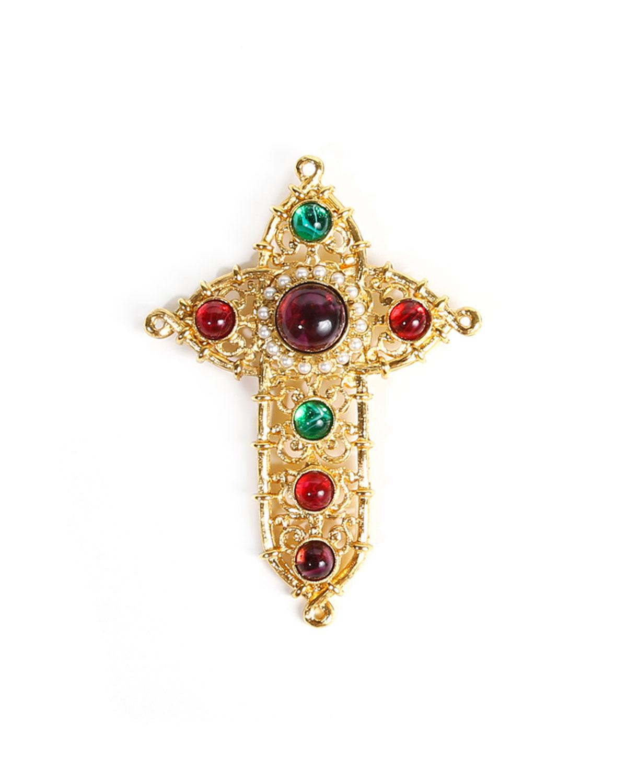 Multi-Stone Cross Brooch