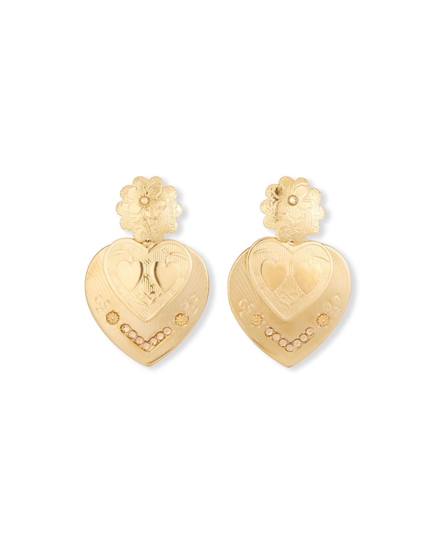 Crystal Heart Pendant Drop Earrings