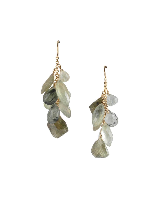 Prehnite and Green Garnet Cluster Earrings