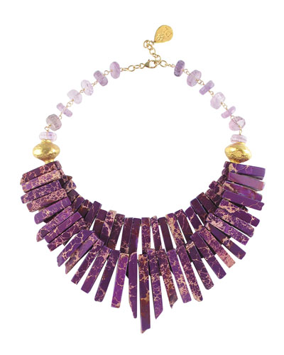 Stone Beach Agate Necklace in Jasper and Amethyst