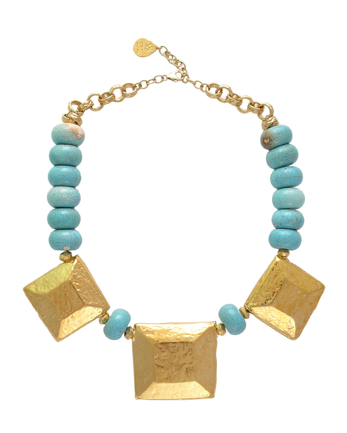 Turquoise and Square Medallion Necklace