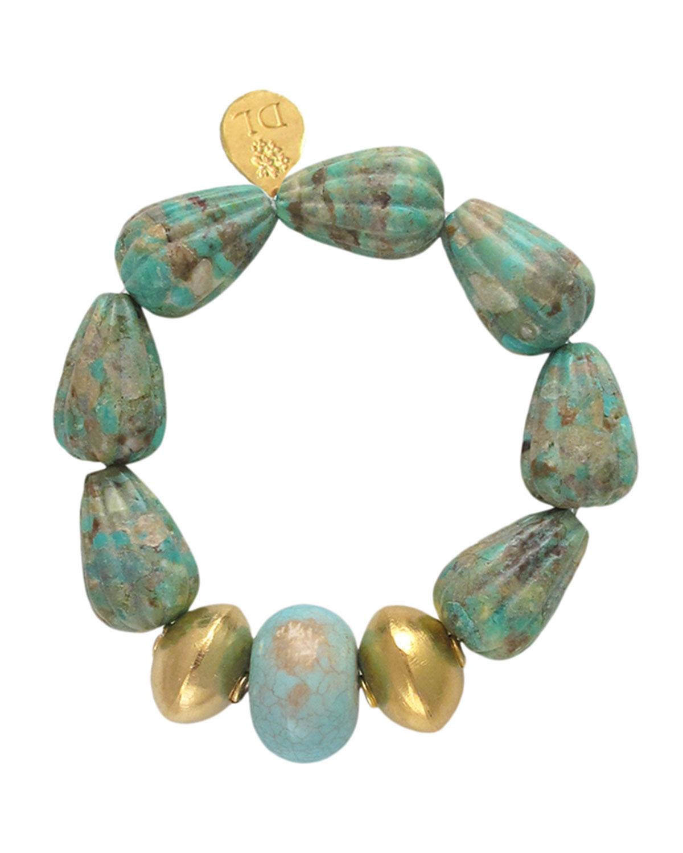Carved Turquoise Stretch Bracelet