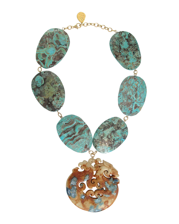 Ocean Jasper Carved Jade Necklace