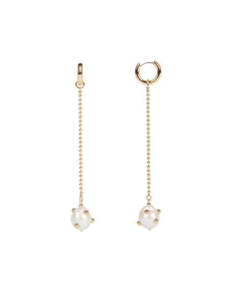 Rebecca Minkoff Shoulder-Duster Huggie Earrings With Studded Baroque Pearl