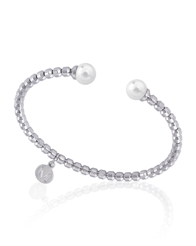 2-Pearl Split Bangle Bracelet