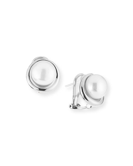 Majorica Sterling Silver Pearly Button Earrings