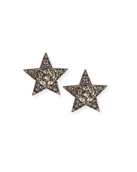 Oscar de la Renta Large Pave Star Clip Earrings