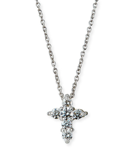 Roberto Coin 18K White Gold Diamond Large Baby Cross Necklace