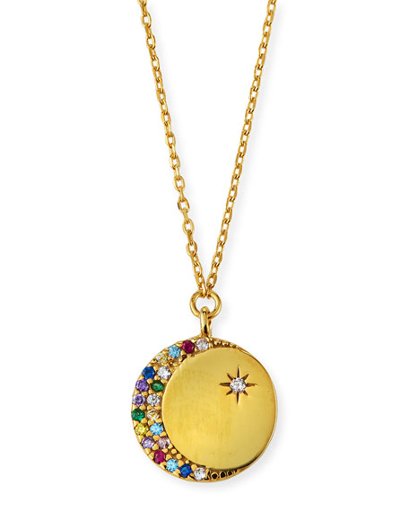 Tai Rainbow Cubic Zirconia Moon Coin Pendant Necklace