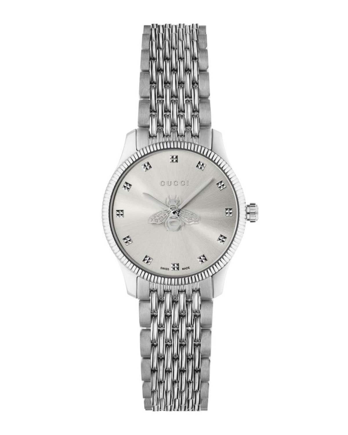 Gucci 29MM G-TIMELESS BEE WATCH WITH BRACELET STRAP, SILVER