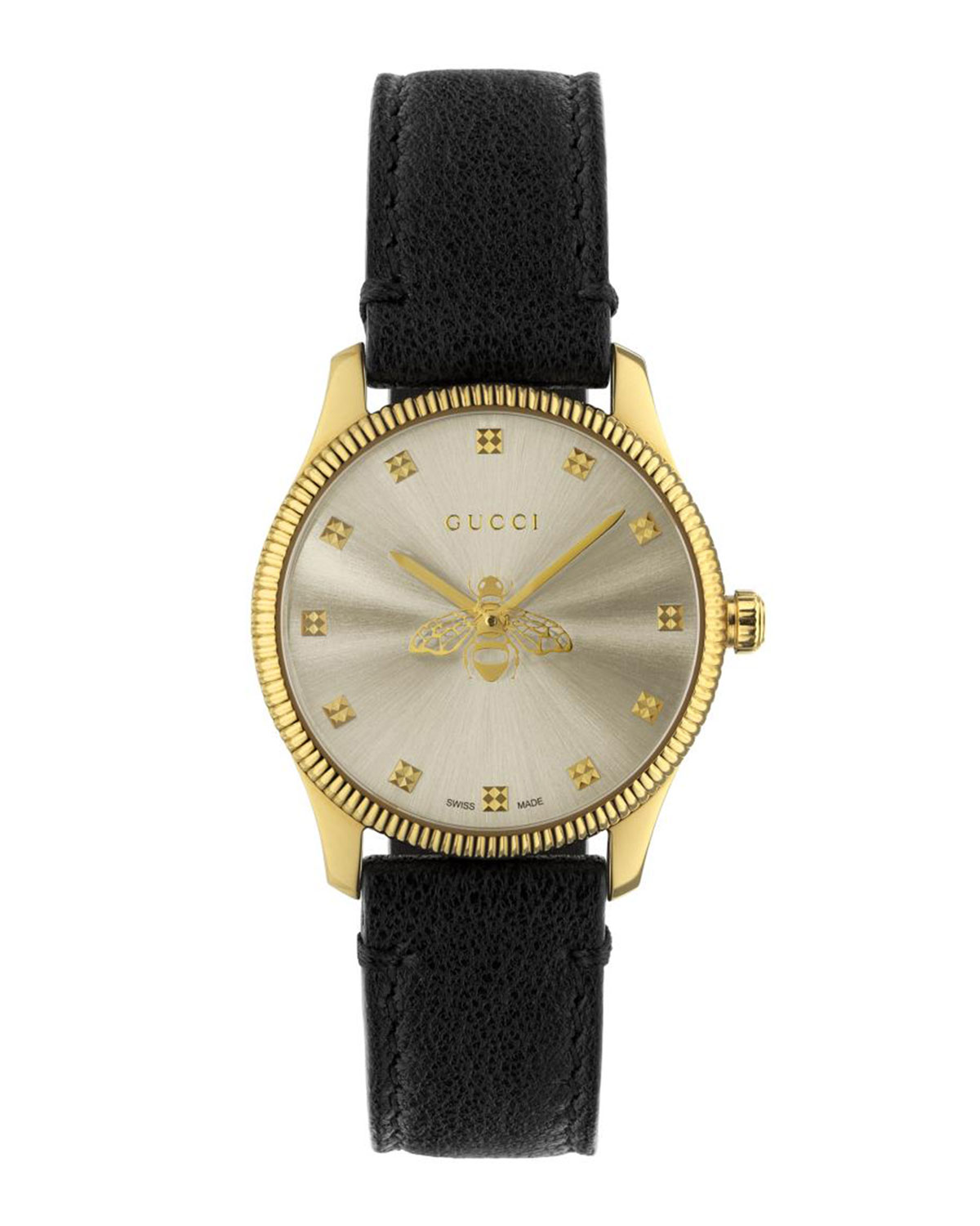 29mm G-Timeless Bee Watch with Black Leather Strap