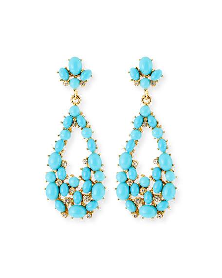 Kenneth Jay Lane Teardrop Cabochon Earrings, Turquoise