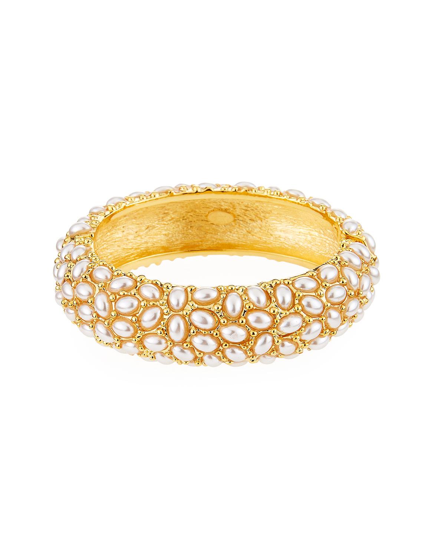 Hinged Cabochon Crystal Bracelet