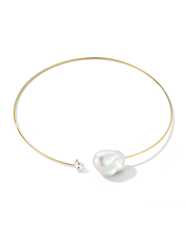 14K Freshwater Pearl & White Topaz Diamond Choker