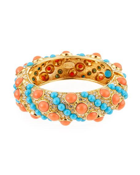 Kenneth Jay Lane Hinged Rhinestone Bracelet, Coral/Turquoise