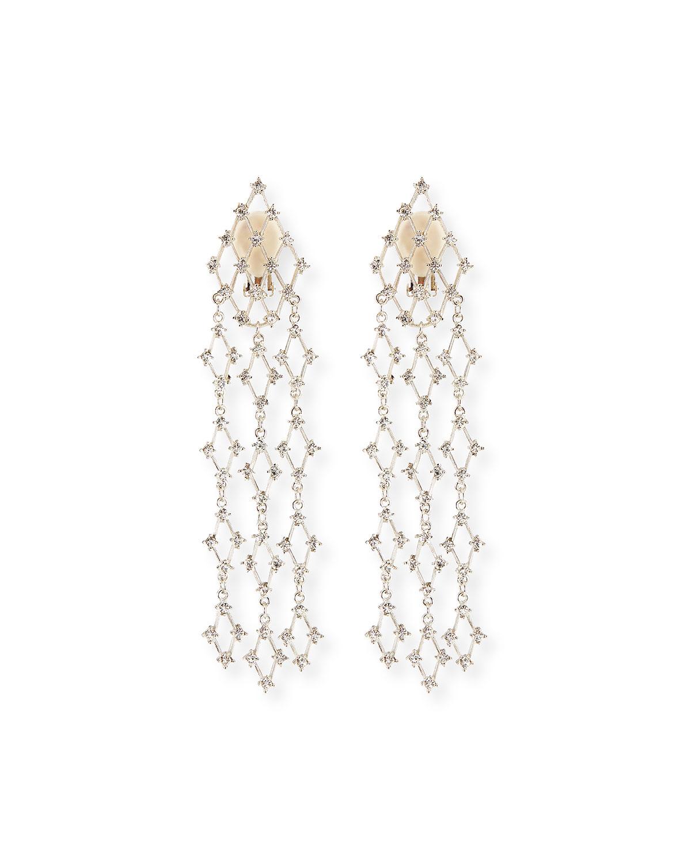 Crystal Waterfall Clip Earrings