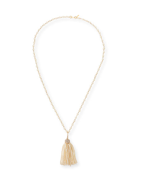 Kenneth Jay Lane Pearly Tassel Necklace