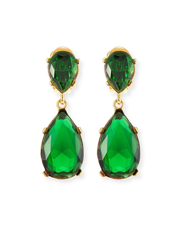 Crystal Teardrop Clip Earrings