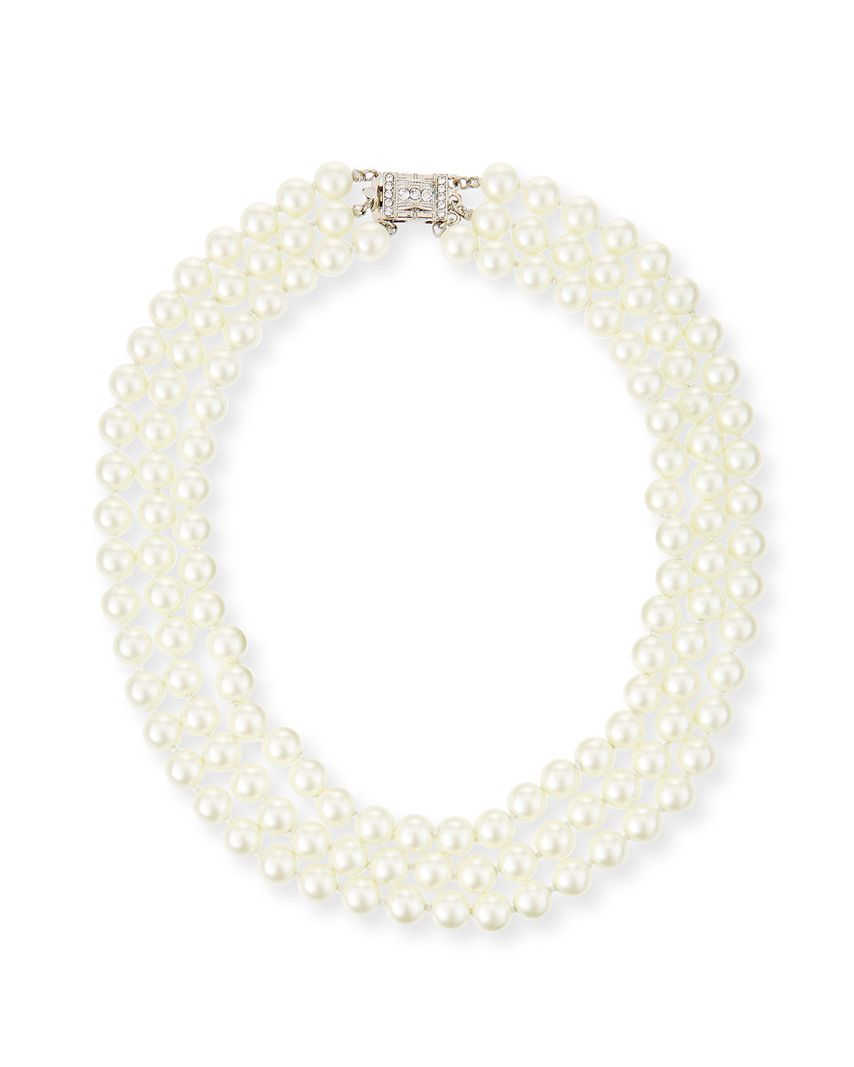 Deco 3-Row Pearly Necklace