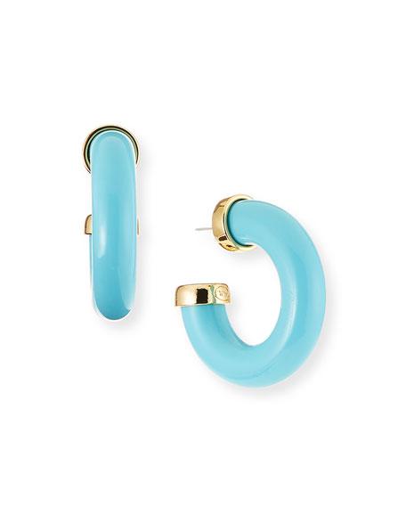 Kenneth Jay Lane Resin C-Hoop Earrings, Turquoise
