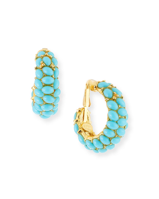 Cabochon Crystal Hoop Earrings