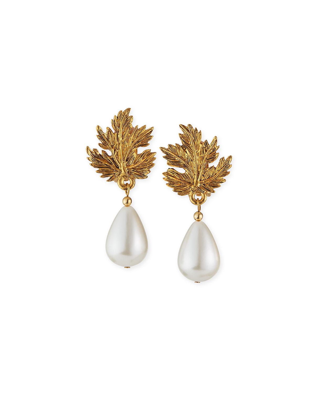 Leaf Clip Pearly Earrings
