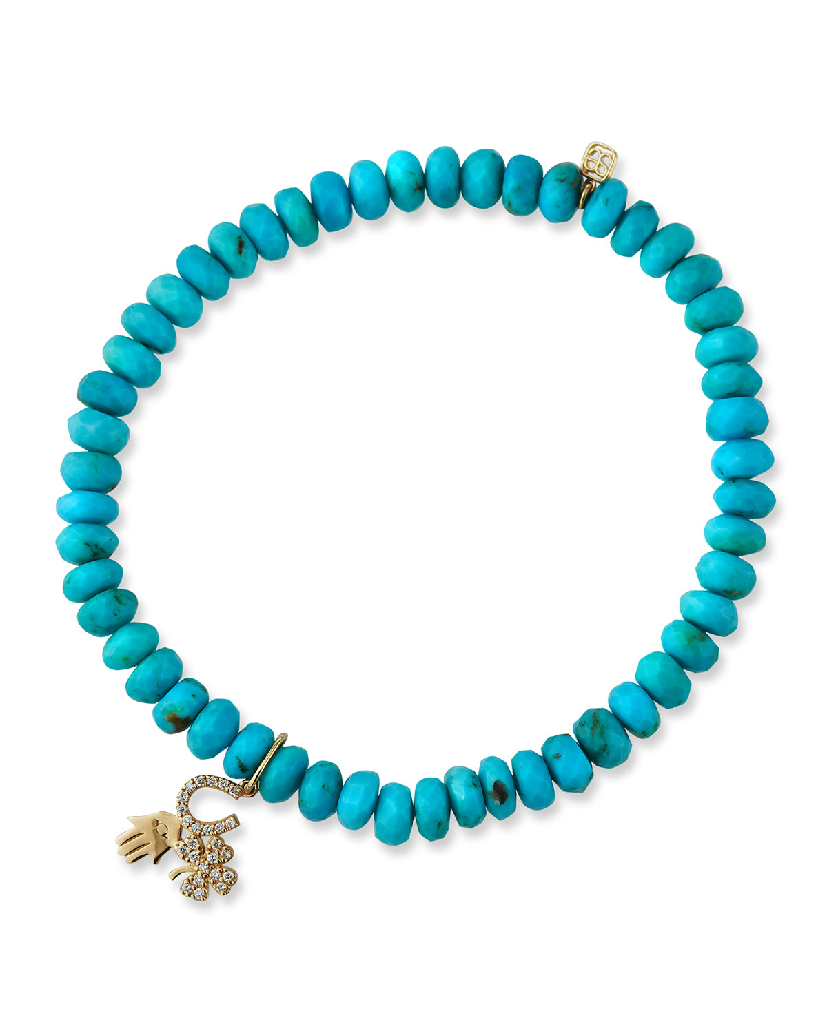 Sydney Evan LUCK AND PROTECTION TURQUOISE BRACELET WITH DIAMONDS