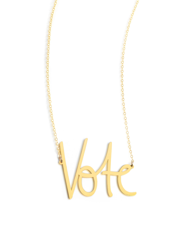 Large Vote Pendant Necklace
