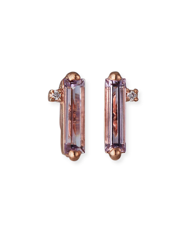 14K Rose Gold Baguette-Cut Stud Earrings