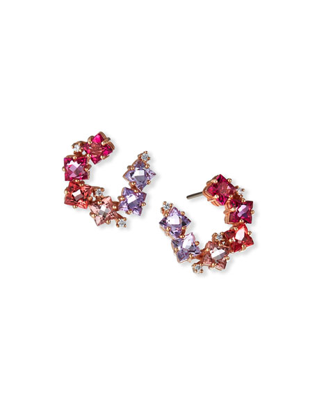 KALAN by Suzanne Kalan 14K Rose Gold Clover and White Diamond Small Spiral Hoop Earrings, Pink