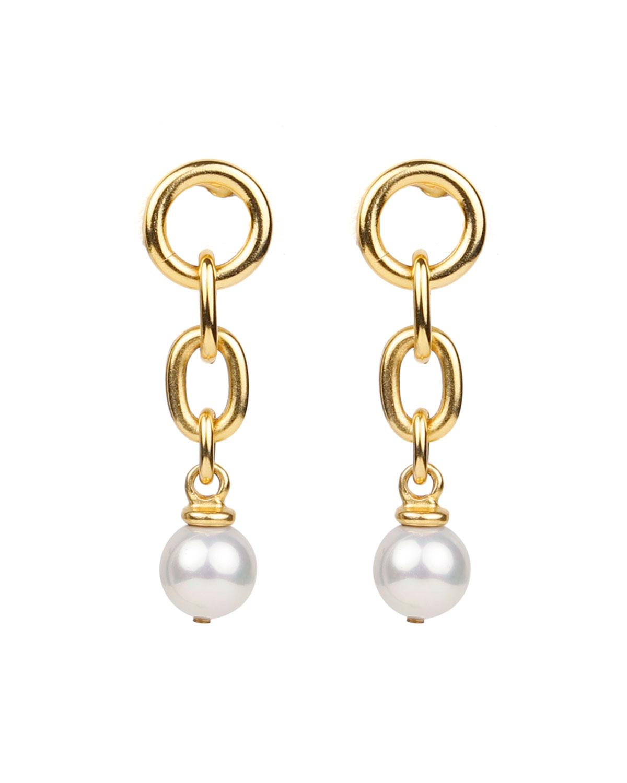 Pearly Drop Link Earrings