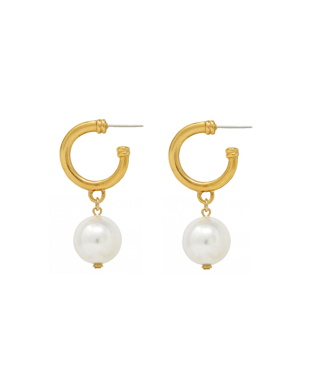 Pearly Pendant Hoop Earrings