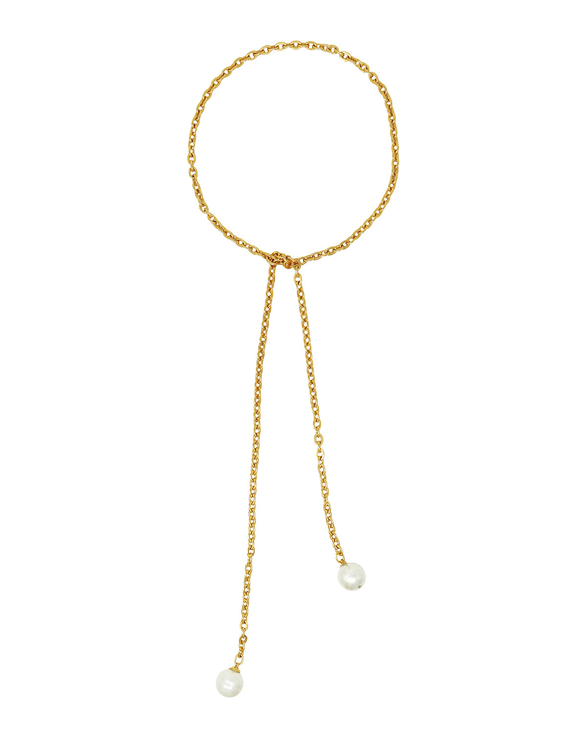 Long Wrapped Chain-Link Pearly Necklace