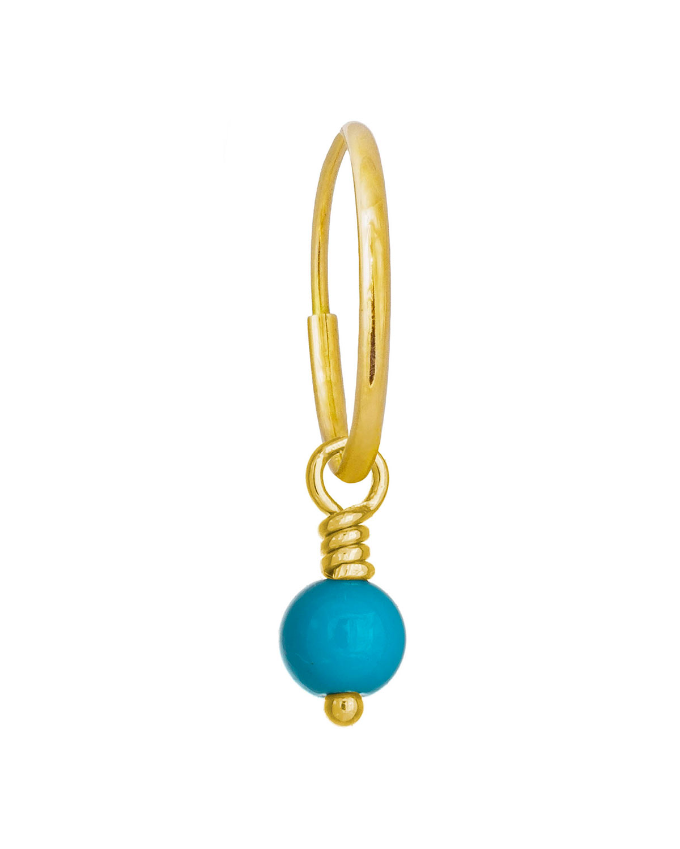 18K Turquoise Bead Drop Earring