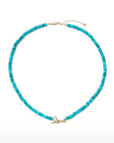 Handmade Beaded Necklace with Turquoise Pendant /& Straight Earrings in Blue and Black