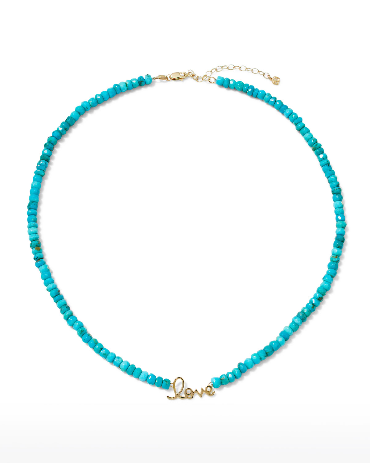 Sydney Evan PURE LOVE 14K YELLOW GOLD TURQUOISE BEADED NECKLACE