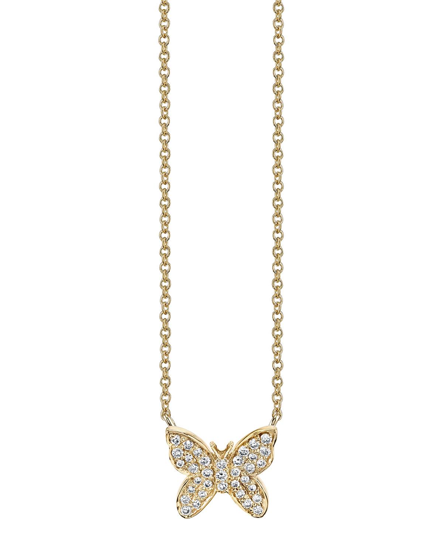 Sydney Evan 14K YELLOW GOLD DIAMOND BUTTERFLY NECKLACE