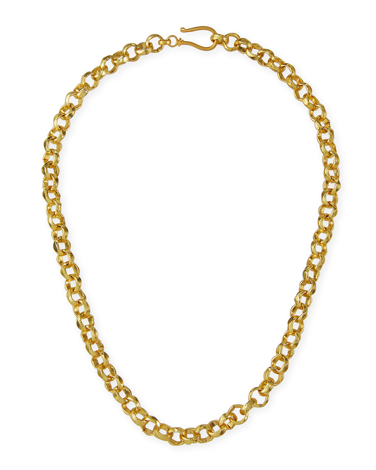 Hammered Rolo Chain Necklace