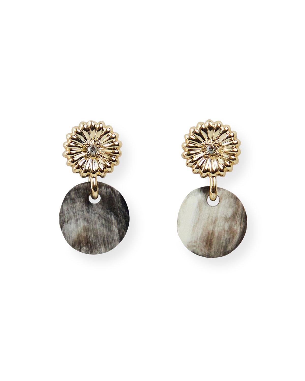 Rossi Drop Earrings with Swarovski Crystal & Black Horn
