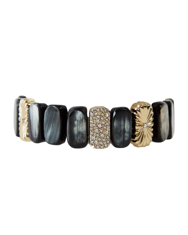 Amara Beaded Pave Swarovski Crystal Stretch Bracelet with Black Horn