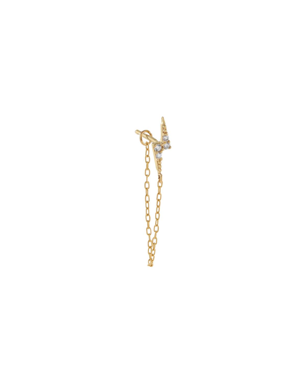 14k Gold CZ Lightning Bolt-Stud Chain Single Earring