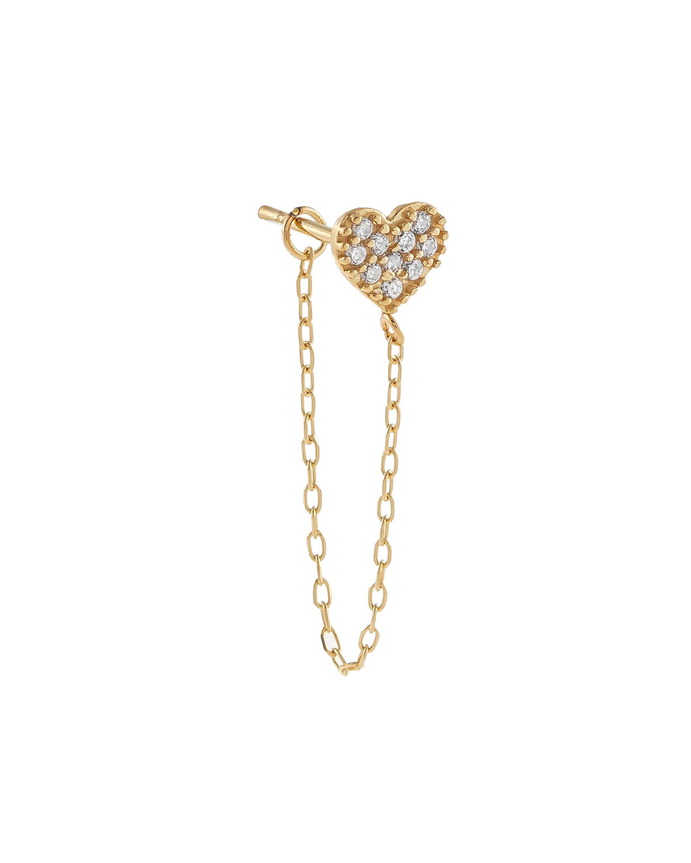 14k Gold Pave CZ Heart-Stud Chain Single Earring