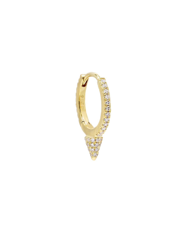 14k Gold Diamond Spike Huggie Single Earring