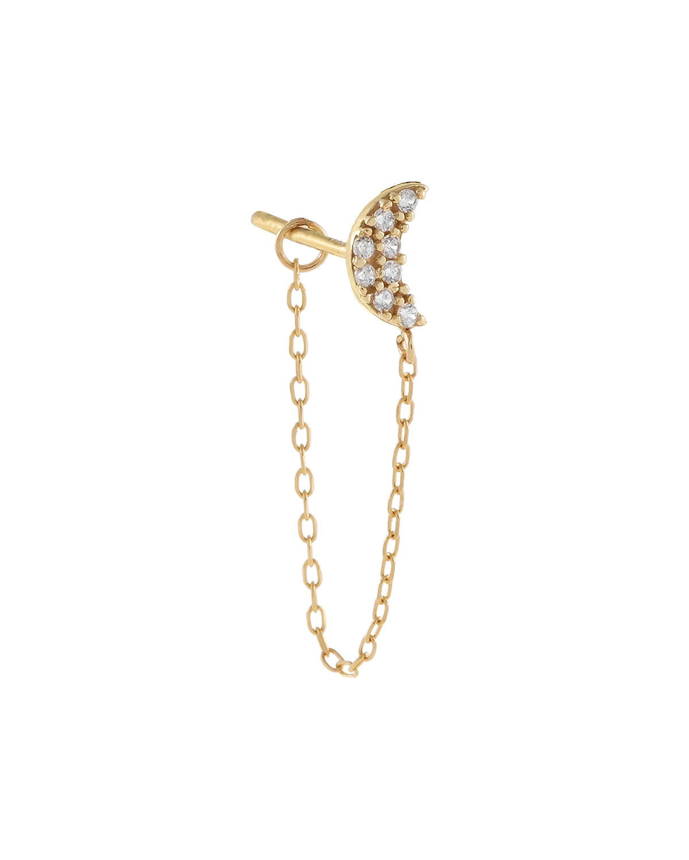 14k Gold CZ Crescent-Stud Chain Single Earring