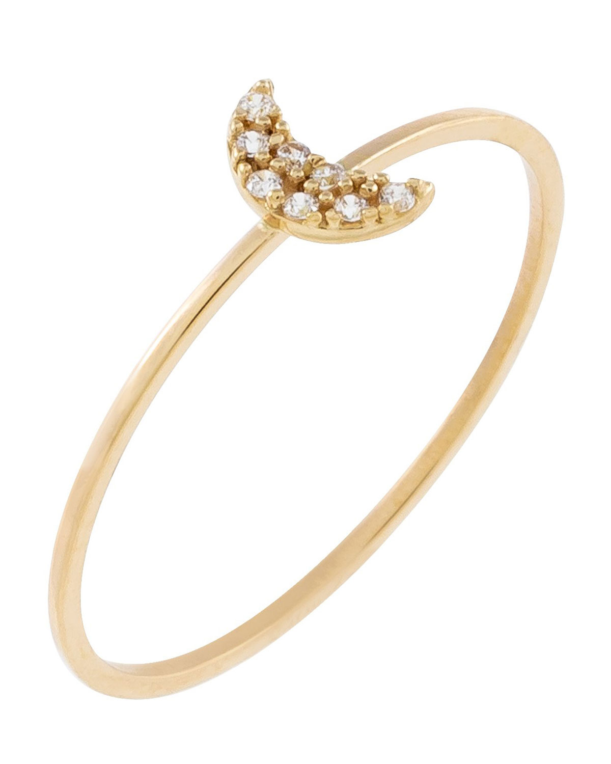 14k Gold Pave CZ Crescent Ring