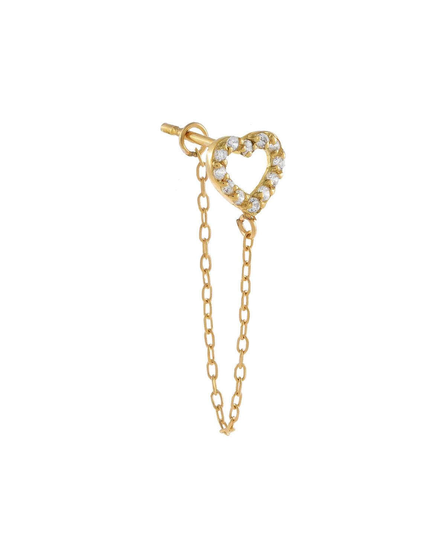 14k Gold Open Heart Chain-Stud Single Earring